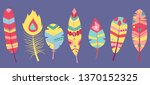 tribal feathers mint  coral ... | Shutterstock .eps vector #1370152325