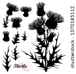 vector set with silhouette of... | Shutterstock .eps vector #1370185112