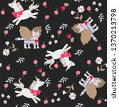 seamless pattern with funny... | Shutterstock .eps vector #1370213798