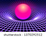 black hole or gravity grid with ... | Shutterstock .eps vector #1370292512