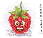 happy red raspberry cartoon... | Shutterstock .eps vector #137035376