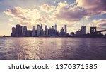 manhattan skyline silhouette at ... | Shutterstock . vector #1370371385