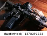 close up of tactical carbine on ...   Shutterstock . vector #1370391338