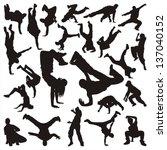 hip hop dancer silhouette on... | Shutterstock .eps vector #137040152