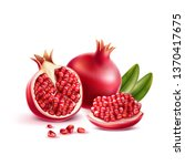realistic pomegranate whole ...   Shutterstock .eps vector #1370417675