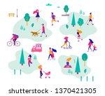 different activities of people... | Shutterstock .eps vector #1370421305