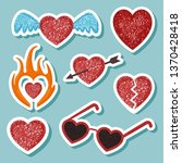 set with stylized hearts. red...   Shutterstock .eps vector #1370428418