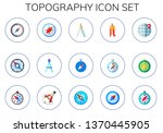 topography icon set. 15 flat... | Shutterstock .eps vector #1370445905