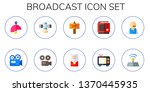 broadcast icon set. 10 flat... | Shutterstock .eps vector #1370445935