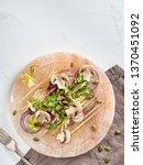 vegetable salad on light beige...