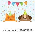 cute funny cartoon cat and dog...   Shutterstock .eps vector #1370479292