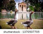Temple of Aesculapios or Tempio Esculapio at Villa Borghese Gardens in Rome, Italy.