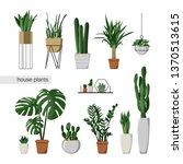 a set of indoor plants. home... | Shutterstock .eps vector #1370513615