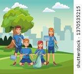 park cleaning volunteers | Shutterstock .eps vector #1370535215