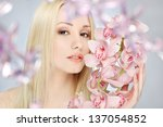 closeup portrait of lovely girl ... | Shutterstock . vector #137054852