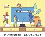 small people building web pages ... | Shutterstock .eps vector #1370567615