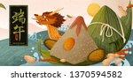 giant rice dumplings and... | Shutterstock .eps vector #1370594582