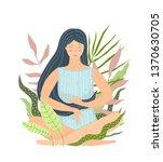 isolated meditation girl in...   Shutterstock .eps vector #1370630705