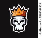skull head with king crown... | Shutterstock .eps vector #1370647535