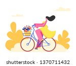 young woman character riding... | Shutterstock .eps vector #1370711432