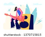 rock guitarist waring ragged... | Shutterstock .eps vector #1370715815