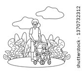 father with baby carriage | Shutterstock .eps vector #1370732312