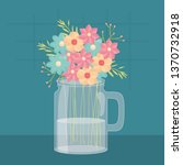 mason jar glass with floral... | Shutterstock .eps vector #1370732918