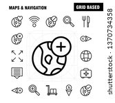 maps and navigation line icon...