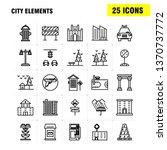 city elements line icons set...
