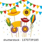 party banner with hat and... | Shutterstock .eps vector #1370739185