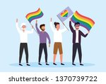 men with rainbow flags to... | Shutterstock .eps vector #1370739722