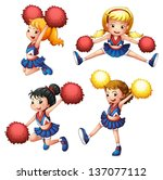 alive,attire,background,blue,cheer,cheerdance,cheerdancer,cheerer,cheerleader,children,dancer,drawing,energetic,female,girls