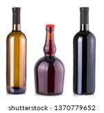 Set Wine Bottle Isolated - Fine Art prints