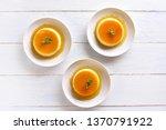 caramel custard pudding on...   Shutterstock . vector #1370791922