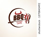 bbq and grill  stylized vector... | Shutterstock .eps vector #1370843492