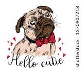 hello cutie. print for t shirt. ... | Shutterstock .eps vector #1370907218