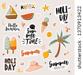 summer print with cute holiday... | Shutterstock .eps vector #1370913422