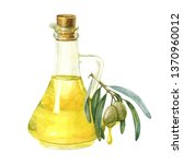 yellow olive bottle and olive... | Shutterstock . vector #1370960012