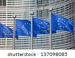 European Flags In Front Of The...