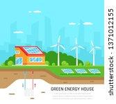 ecofriendly family house. green ... | Shutterstock .eps vector #1371012155
