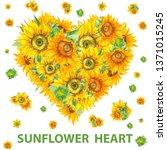 sunflower heart shape banner in ... | Shutterstock . vector #1371015245