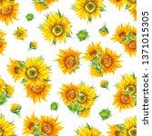 sunflower seamless pattern in... | Shutterstock . vector #1371015305