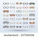 hipster glasses and sunglasses... | Shutterstock .eps vector #137104106