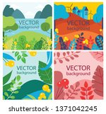 vector abstract floral herbal... | Shutterstock .eps vector #1371042245