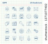 gdpr 25 doodle icons. hand... | Shutterstock .eps vector #1371077402
