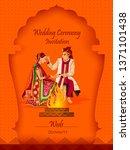 indian bride and groom in...   Shutterstock .eps vector #1371101438