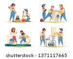 plumber work concept 4 flat... | Shutterstock .eps vector #1371117665