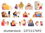 gluttony icons set with... | Shutterstock .eps vector #1371117692