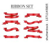 red ribbons set. vector design... | Shutterstock .eps vector #1371145805