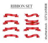 red ribbons set. vector design... | Shutterstock .eps vector #1371145808